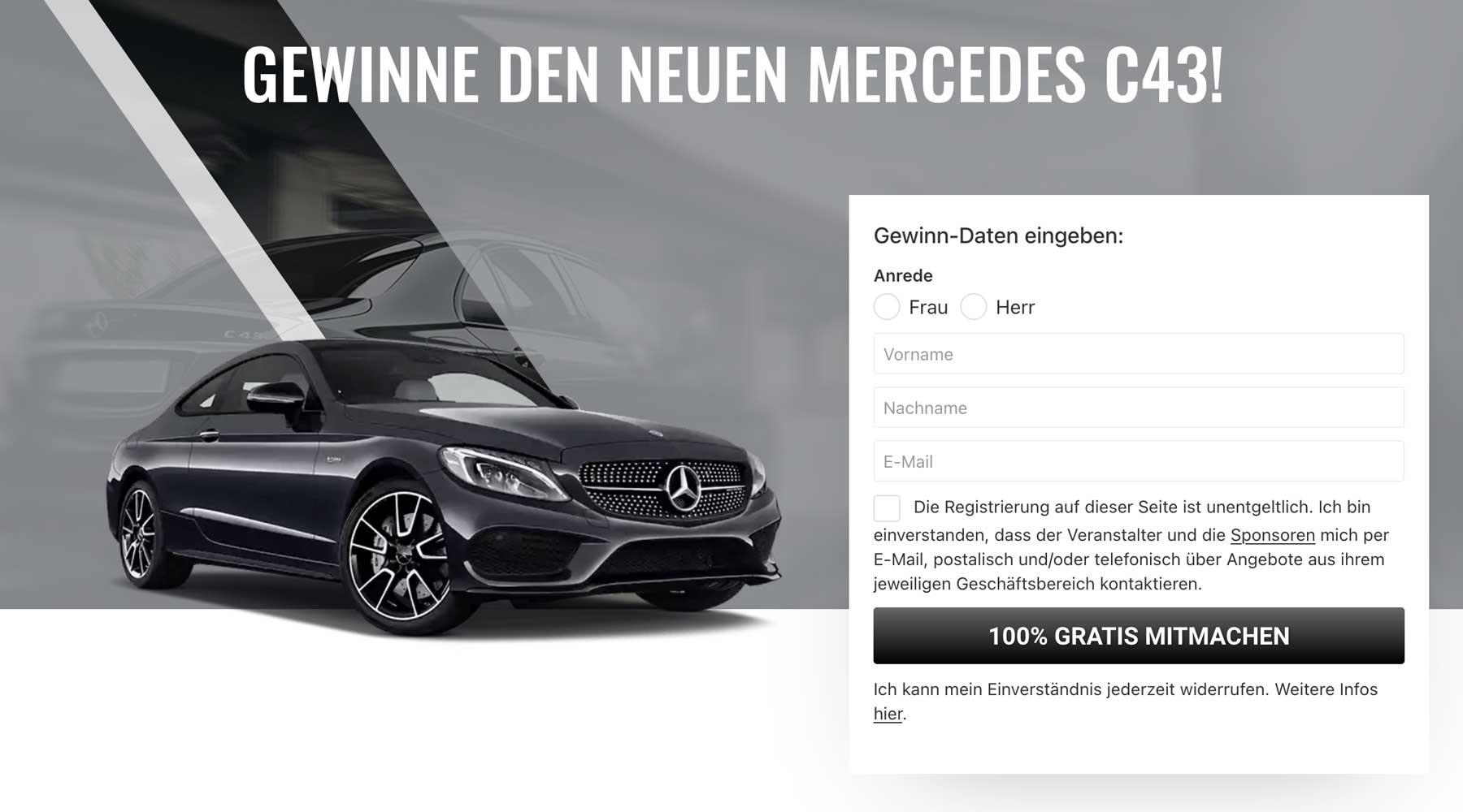 Auto-Gewinnspiel: Mercedes C43