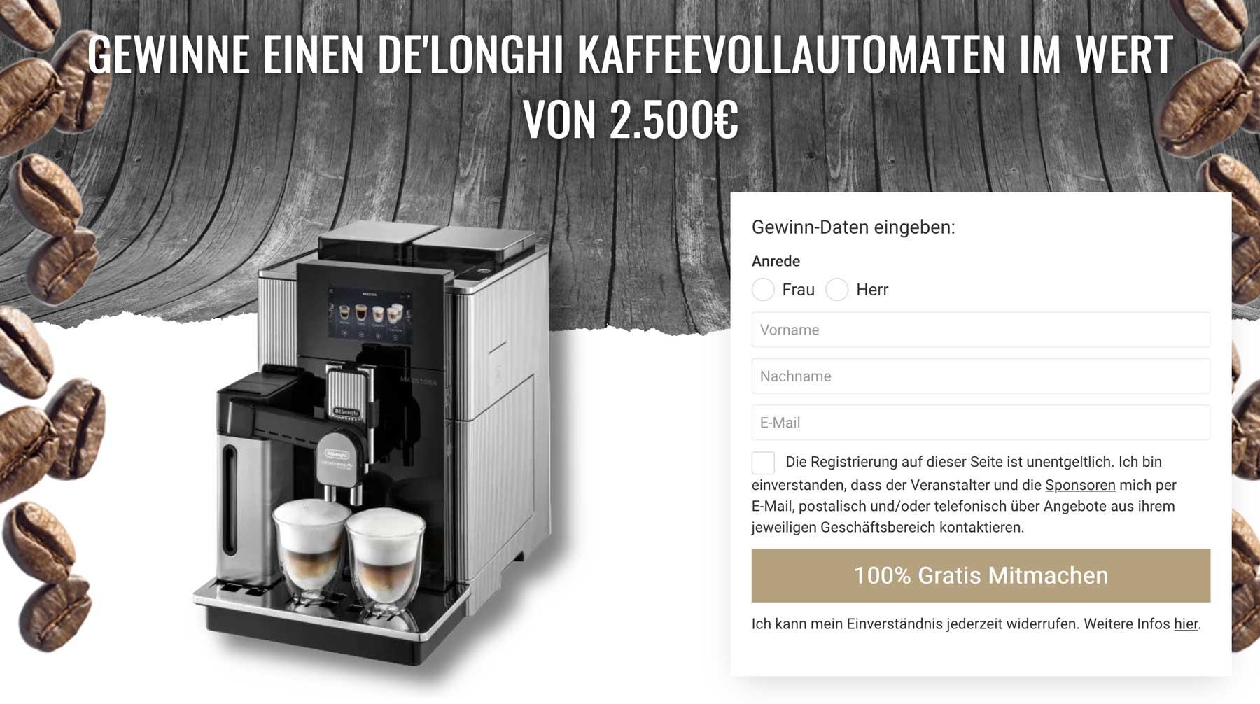 Kaffeevollautomaten Gewinnspiel
